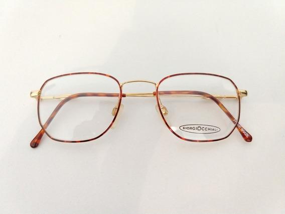 Armação Oculos Quadrado Dourado Masculino Retro 8018