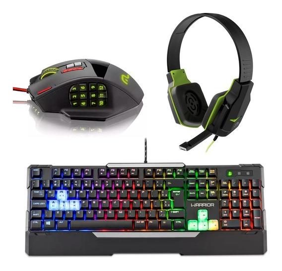 Kit Gamer Teclado Led + Mouse 4000dpi + Fone Headset