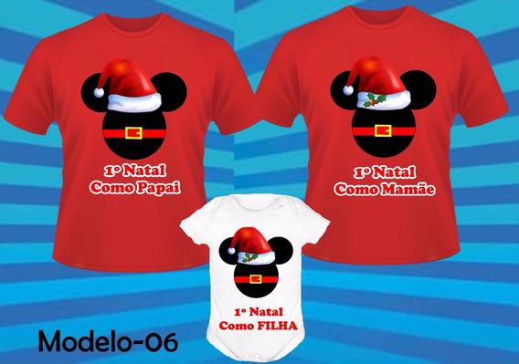 Kit 3 Camisetas Para Natal Em Família Festa