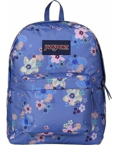 Mochila Jansport Superbreak Azul Flores T50148s Lanueve
