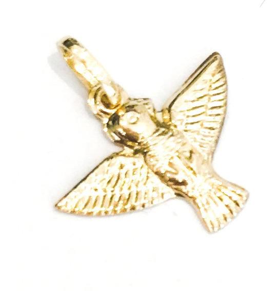 Pingente Divino Espírito Santo Pomba Paz M Ouro 18k Full
