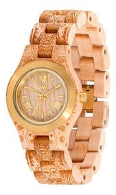 Relógio De Madeira Wewood Criss Henne Beige Gold - Wwcr08