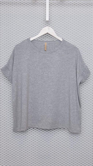 Remeron Manga Corta Morley Color Gris Talle M Mujer