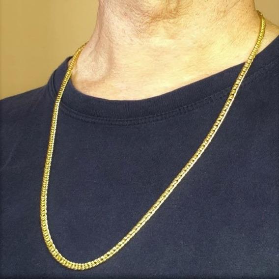 Corrente Masculina Cordão Elos Grumet Banho De Ouro 18k 4719