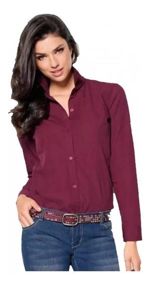 Camisa Mujer Slim Fit Elastizada Tela Importada Vs Colores