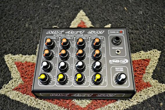 Amplificador Fone Power Click Mixer Mx 4x1 Sm Novo P 4 Fones