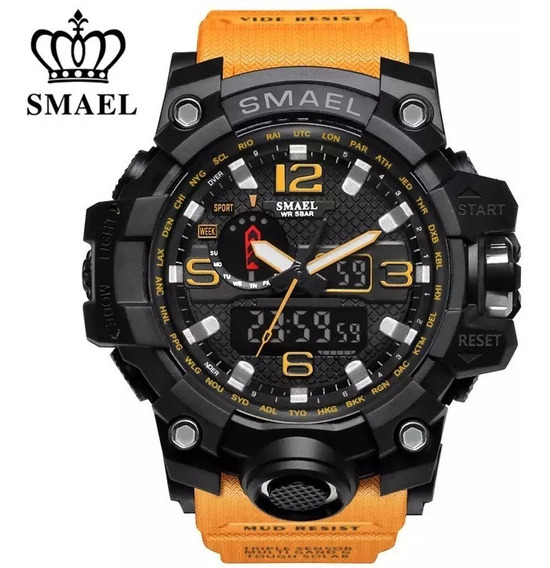 Relógio Smael 1545 Militar Shock Top\ Laranja \ Original