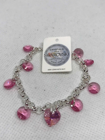 Pulsera Acero Plata Y Lenteja Corazón Swarovski Cristal Rosa