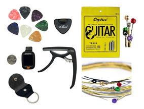 Kit Acessórios De Violão Guitarra Capotraste Afinador Cordas