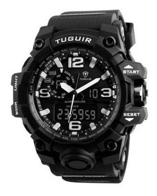 Relógio Masculino Tuguir 1155 Preto/branco Na Caixa Com Nf