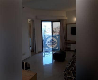 Imagem 1 de 23 de Flat Com 2 Dormitórios Para Alugar, 60 M² Por R$ 3.900/mês - Boqueirão - Santos/sp - Fl0071