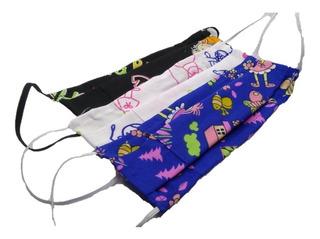 4 Tapabocas Para Niño Lavable En Tela Antifluido Surtidos