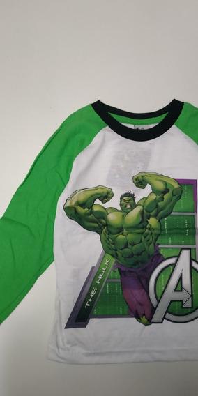Remera Hulk Avengers Manga Larga Talle 4 Marvel