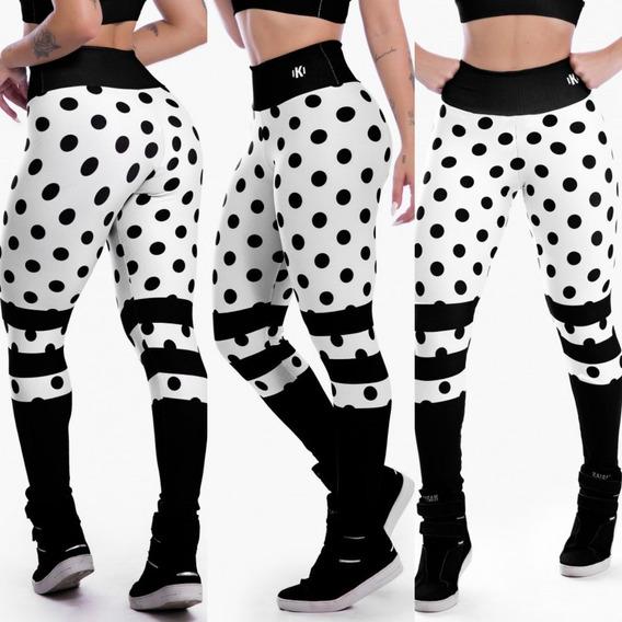 Calça Legging Sublimada Black Spotted Fitness Suplex Fitness Academia