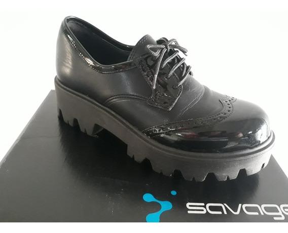 Zapatos Cuero Y Charol Savage