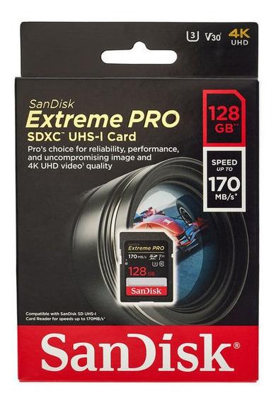Cartão Original Memória Sandisk Extreme Pro Sd 128g 170mb 4k