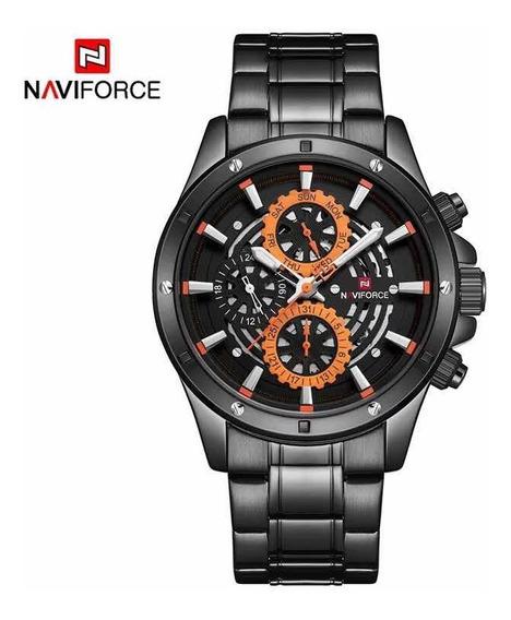 Relógio Masculino Naviforce Original Aço Inoxidável