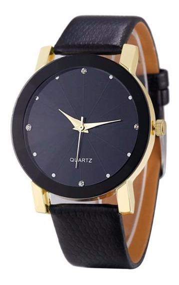 Relógio Dourado Feminino Pulseira Preto Rg003f Promoção!!!