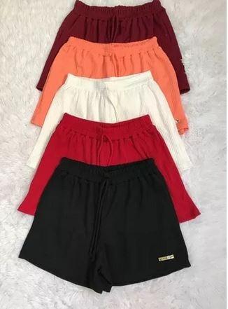 Shorts Bermuda Canelado Ribana Elasticos Cintura Tamanhos