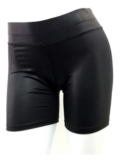 Shorts Cirre C Brilho Couro Fake Shortinho Fitness