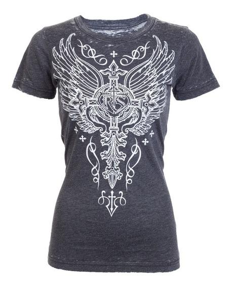 Affliction Camiseta Blusa Roupa Feminina Rebel Saints Import