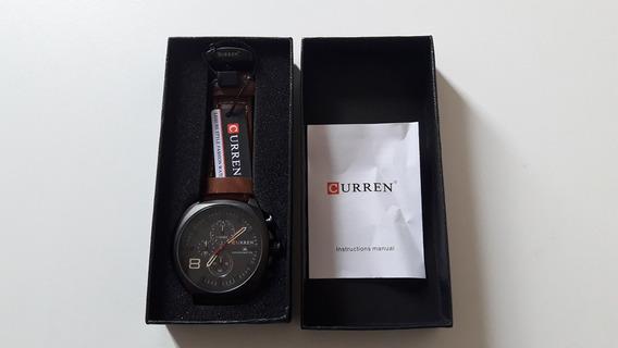Relógio Curren Original Conógrafo Pulseira De Couro + Caixa