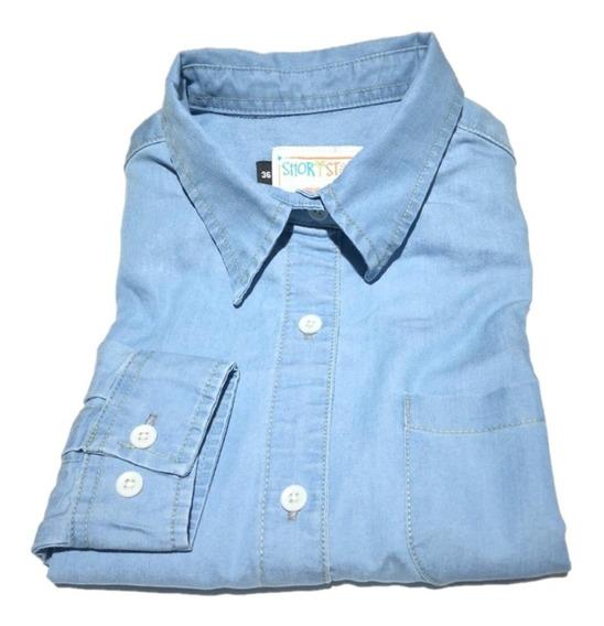 Oferta Blusa De Dama Mezclilla Importada Slim Fit 2 Tonos