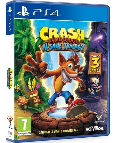Jogo Crash Bandicoot N Sane Trilogy Ps4 Midia Fisica Cd Original Novo Game Lacrado Nacional Promoção