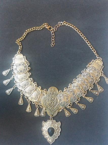 Promoção Gargantilha Dourada Envelhecida Indiana Pedra Preta