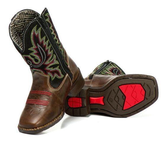 Bota Country Masculina Cano Longo Texana Bico Couro