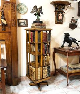 Librero Antiguo Giratorio En Madera De Encino Ca. 1900