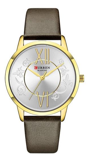 Relógio Feminino Curren Analógico C9049l - Dourado E Marrom