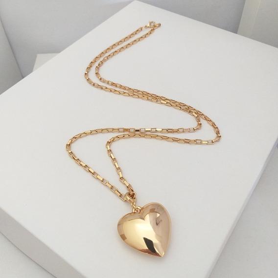 Colar De Coração Dourado Longo Sigvara