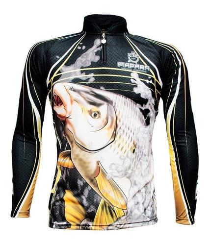 Imagem 1 de 4 de Camiseta De Pesca Sublimada King Brasil Manga Longa Piapara