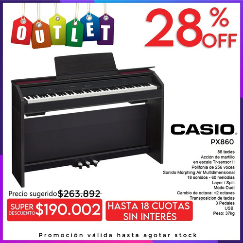 Casio Px860 Piano Digital Profesional 88 Notas Mueble Outlet