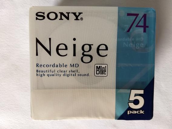 Pack Com 05 Mini Disc Sony Neige Regravaveis Novos Lacrados