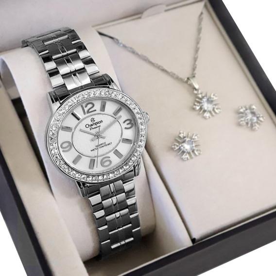 Relógio Champion Feminino Prata Analógico + Colar E Brincos
