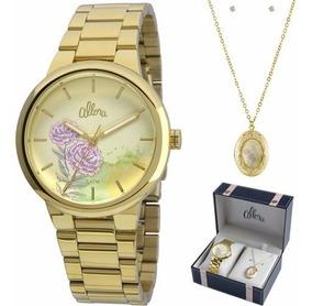 Relógio Allora Analógico Feminino Al2035fbj/k4x + Conjunto