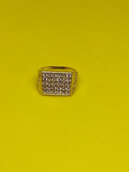 Anillo Caballero Oro 10kt Circonia 6.5 Gramos