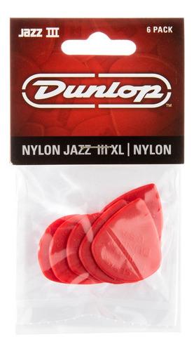 Picks Dunlop Red Nylon Jazz Iii Xl 6 Pack