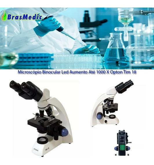 Microscópio Binocular Led Aumento Até 1000 X Opton Tim 18