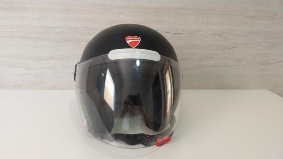 Capacete Aberto Personalizado Ducati - Preto Fosco - Tam. 56