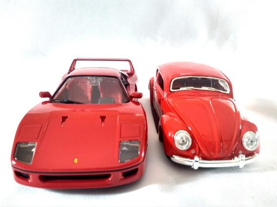 Kit Ferrari F40 Vermelha + Fusca Volkswagen Maisto 1:24