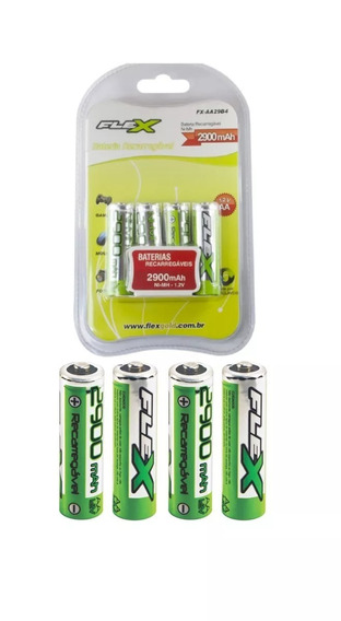 Pilha Reccarregável Aa 2900mah Pack 4 Pilhas Flexgold
