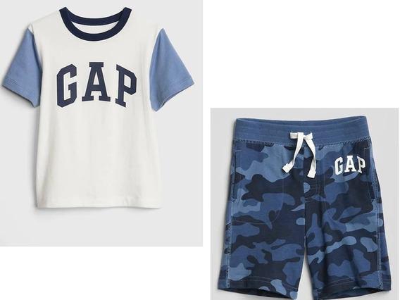 Conjunto Gap Playera Y Shorts Azul Nuevo Talla 12-18 Ms