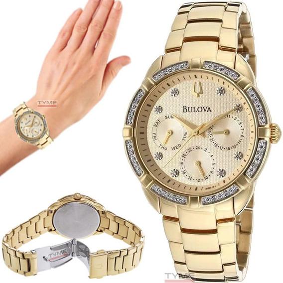 Relógio Bulova Feminino Diamond Wb27734x 98r171 Nota Fiscal