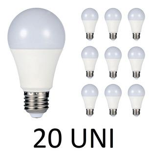 Kit 20 Lâmpada Led Bulbo 9w E27 Bivolt Branco Frio Casa Loja
