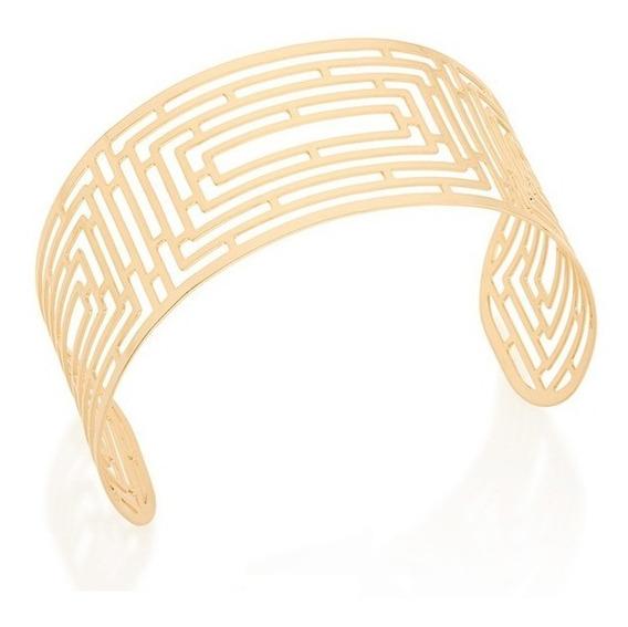 Bracelete Largo Com Desenho Labirinto Vazado Rommanel 551530