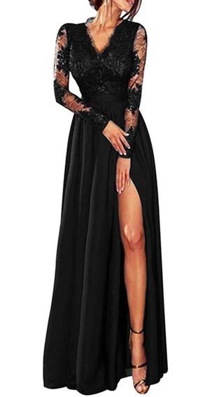 Vestido Largo Manga Larga Escote En V Con Encaje Para Mujer