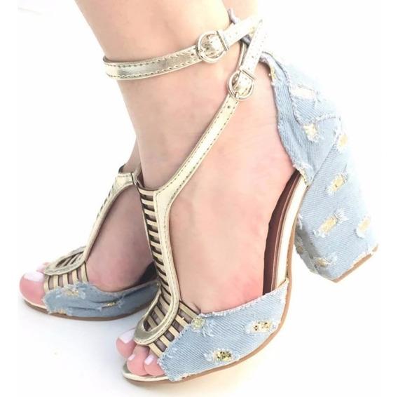 Sandália Jeans Desfiado Glitter Dourado Salto Grosso Alto Nf